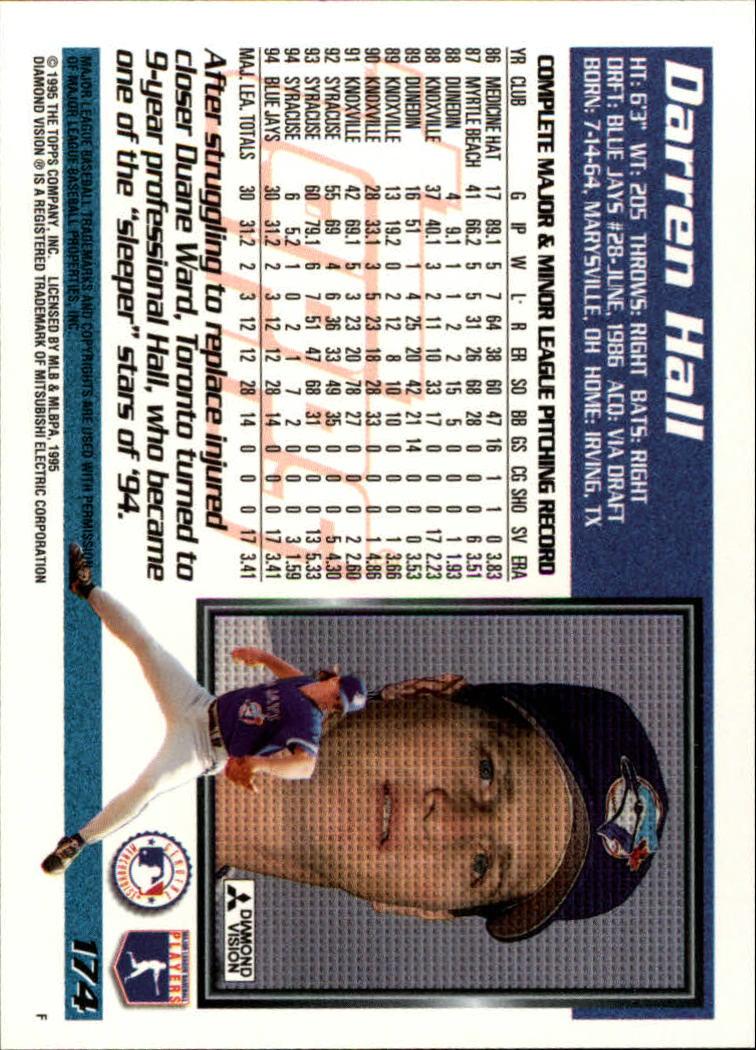 1995 Topps #174 Darren Hall back image