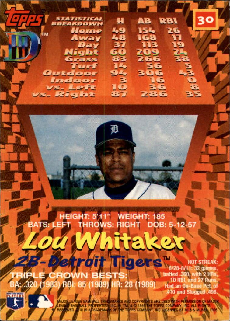1995 Topps D3 #30 Lou Whitaker back image