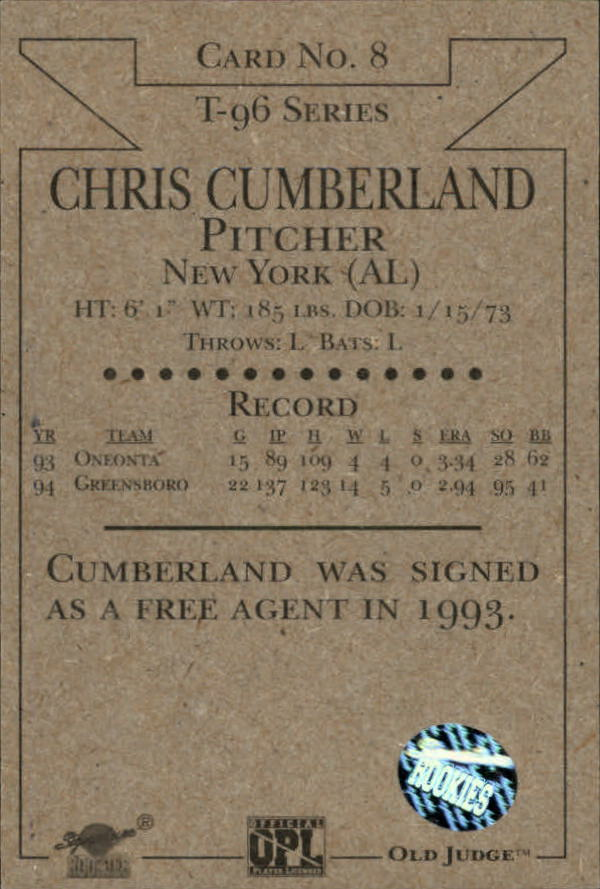 1996 Signature Rookies Old Judge Signatures #8 Chris Cumberland back image