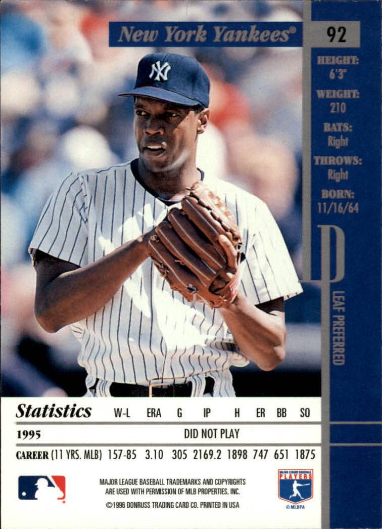 1996 Leaf Preferred #92 Dwight Gooden back image