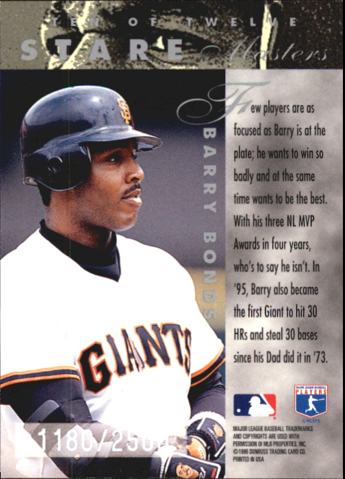 1996 Leaf Preferred Staremaster #10 Barry Bonds back image
