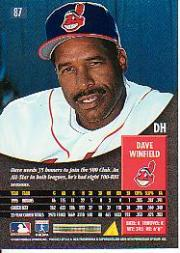 1996 Pinnacle #87 Dave Winfield back image