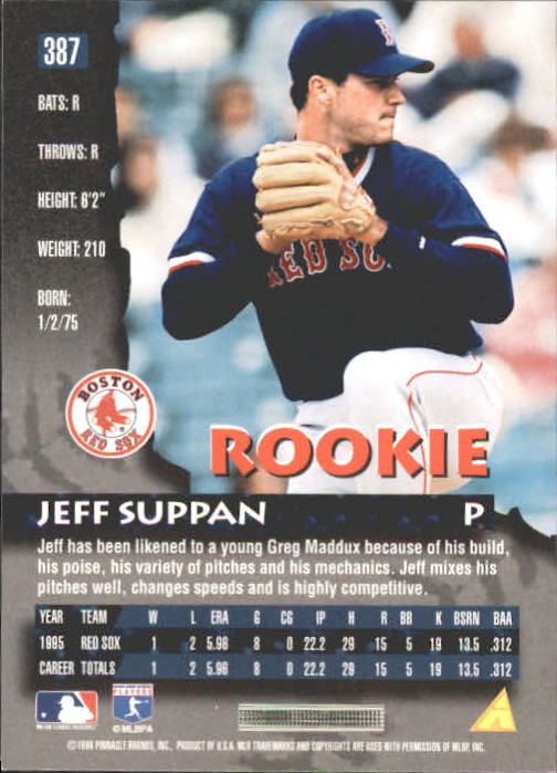 1996 Pinnacle #387 Jeff Suppan back image