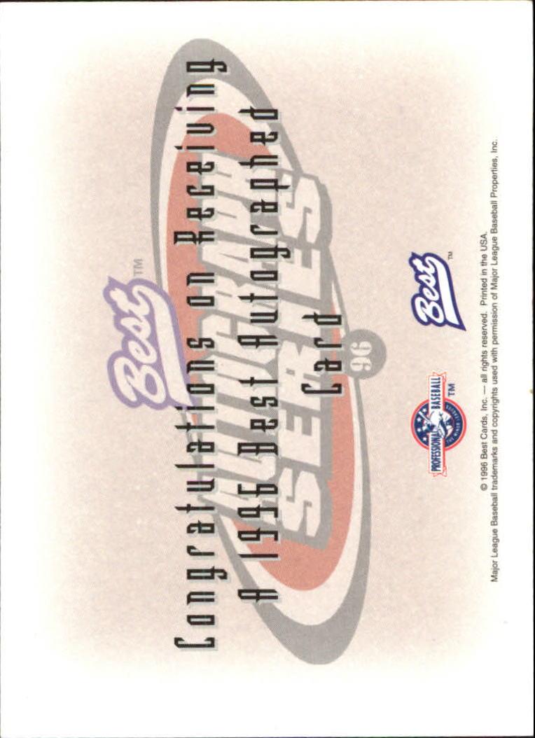 1996 Best Autographs #67 Todd Schmitt back image