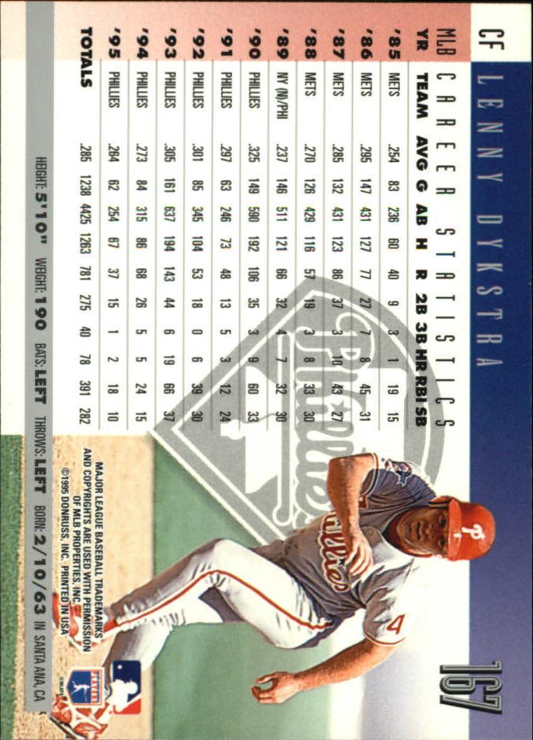1996 Donruss #167 Lenny Dykstra back image