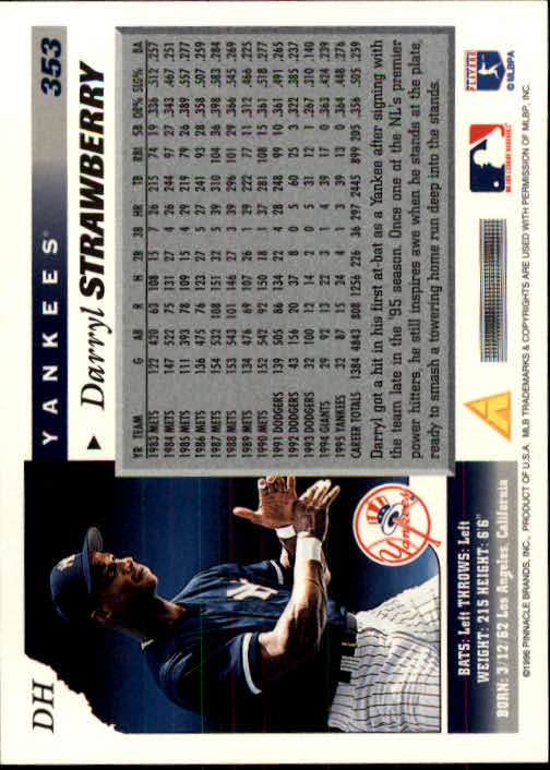 1996 Score #353 Darryl Strawberry back image