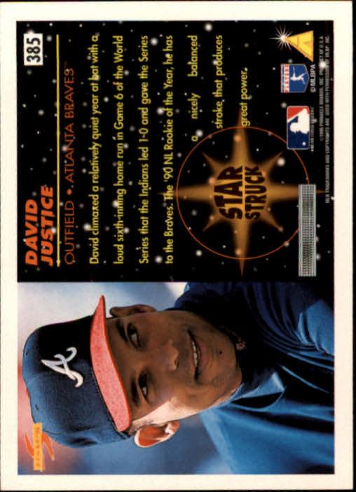 1996 Score #385 David Justice SS back image