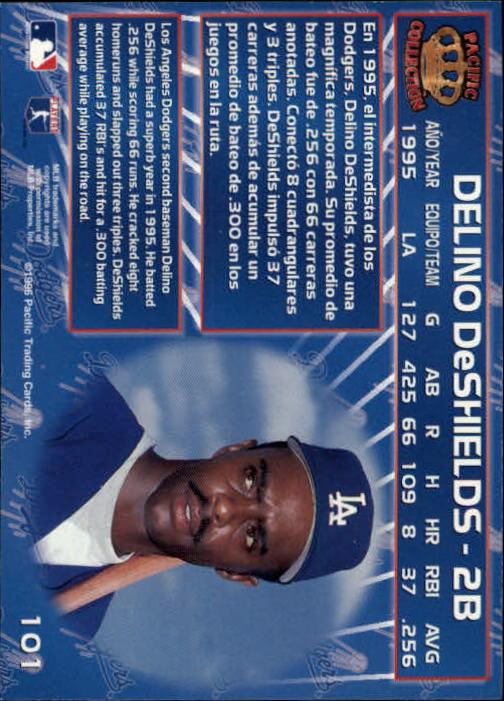 1996 Pacific #101 Delino DeShields back image