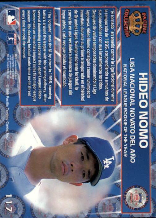 1996 Pacific #117 Hideo Nomo ROY back image