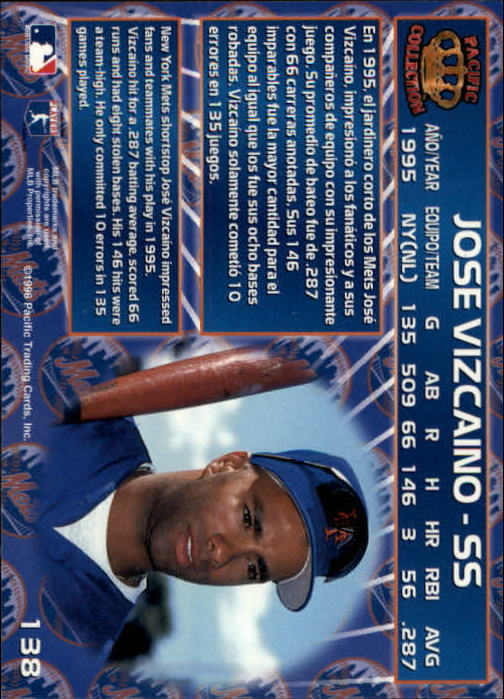 1996 Pacific #138 Jose Vizcaino back image