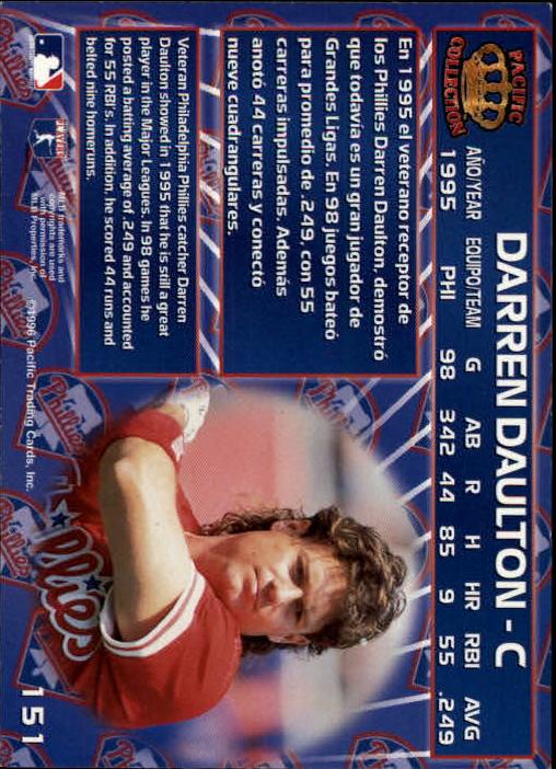 1996 Pacific #151 Darren Daulton back image