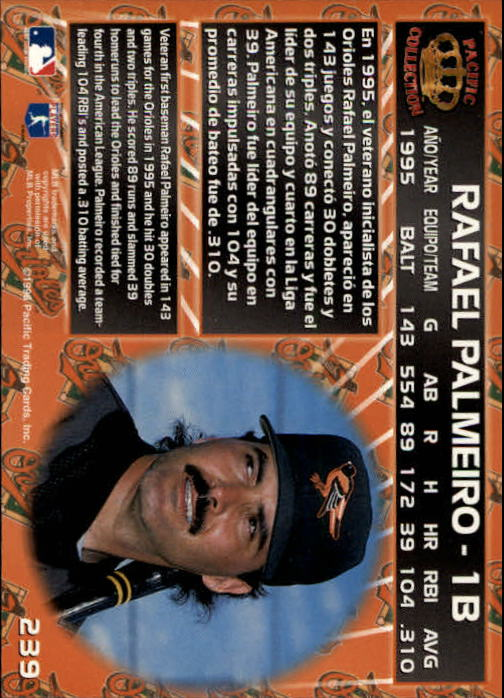 1996 Pacific #239 Rafael Palmeiro back image