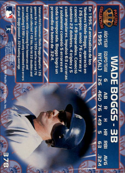 1996 Pacific #378 Wade Boggs back image