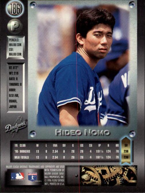 1996 Metal Universe #186 Hideo Nomo back image