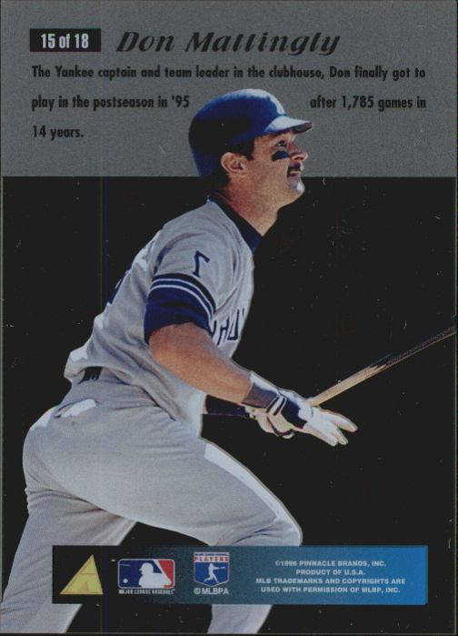 1996 Pinnacle Essence of the Game #15 Don Mattingly back image