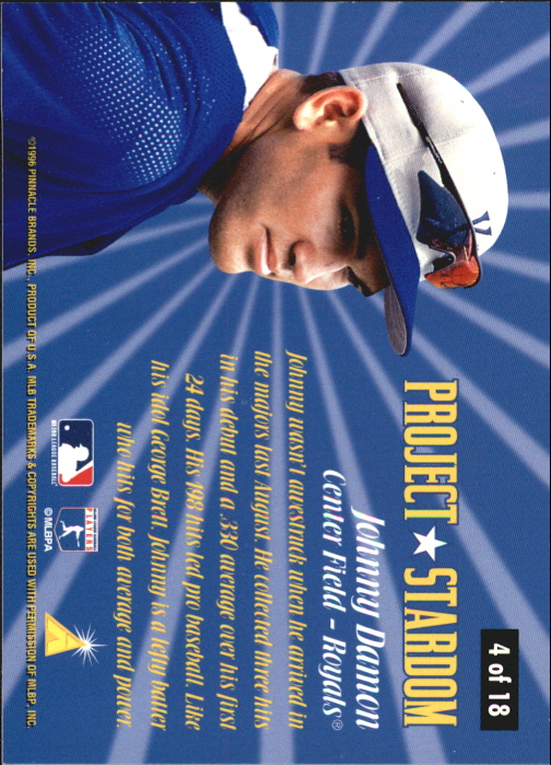 1996 Pinnacle Project Stardom #4 Johnny Damon back image