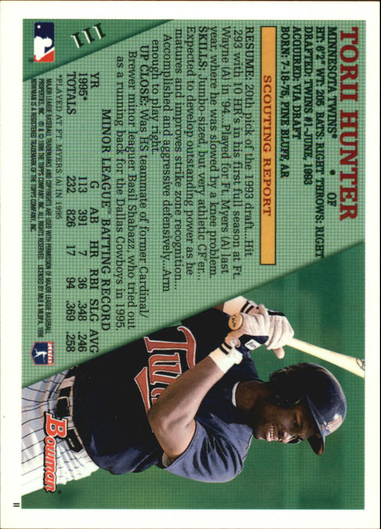 1996 Bowman #111 Torii Hunter back image