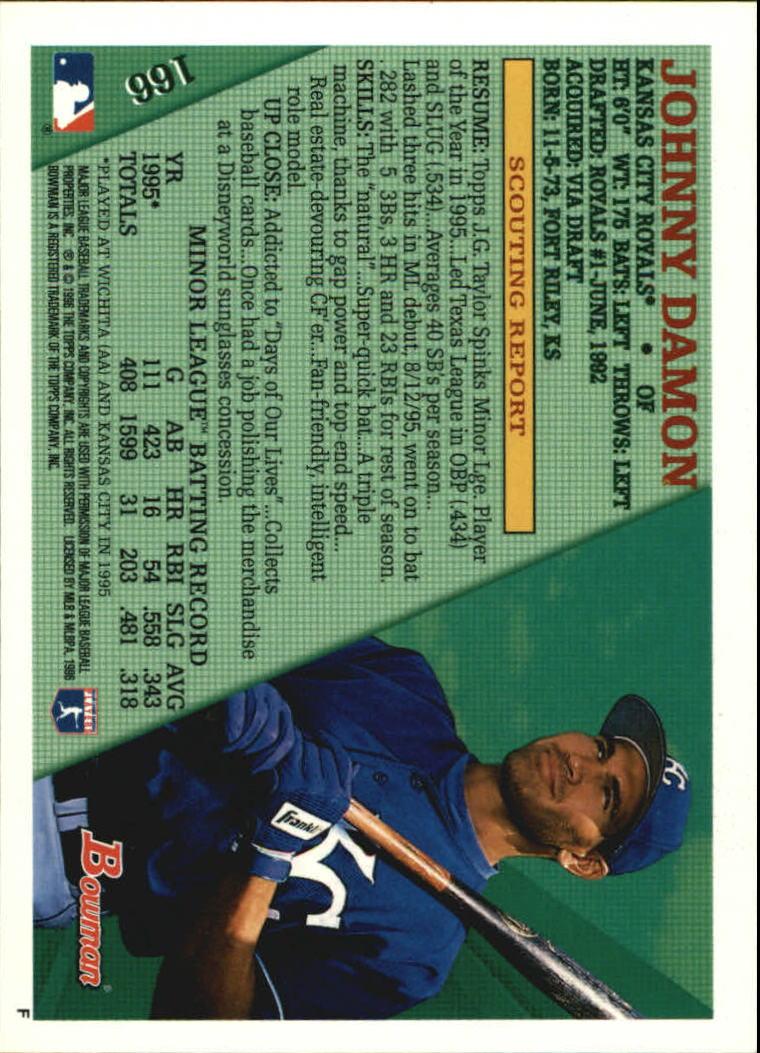 1996 Bowman #166 Johnny Damon back image