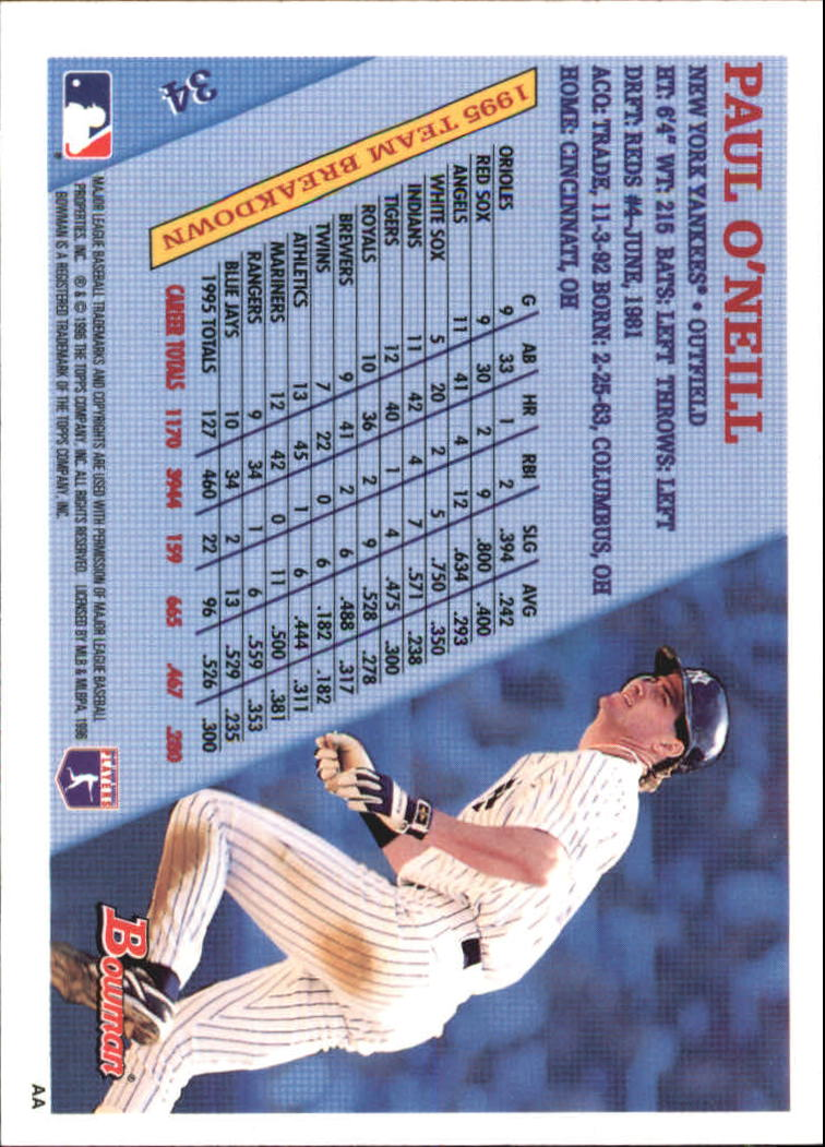 1996 Bowman Foil #34 Paul O'Neill back image