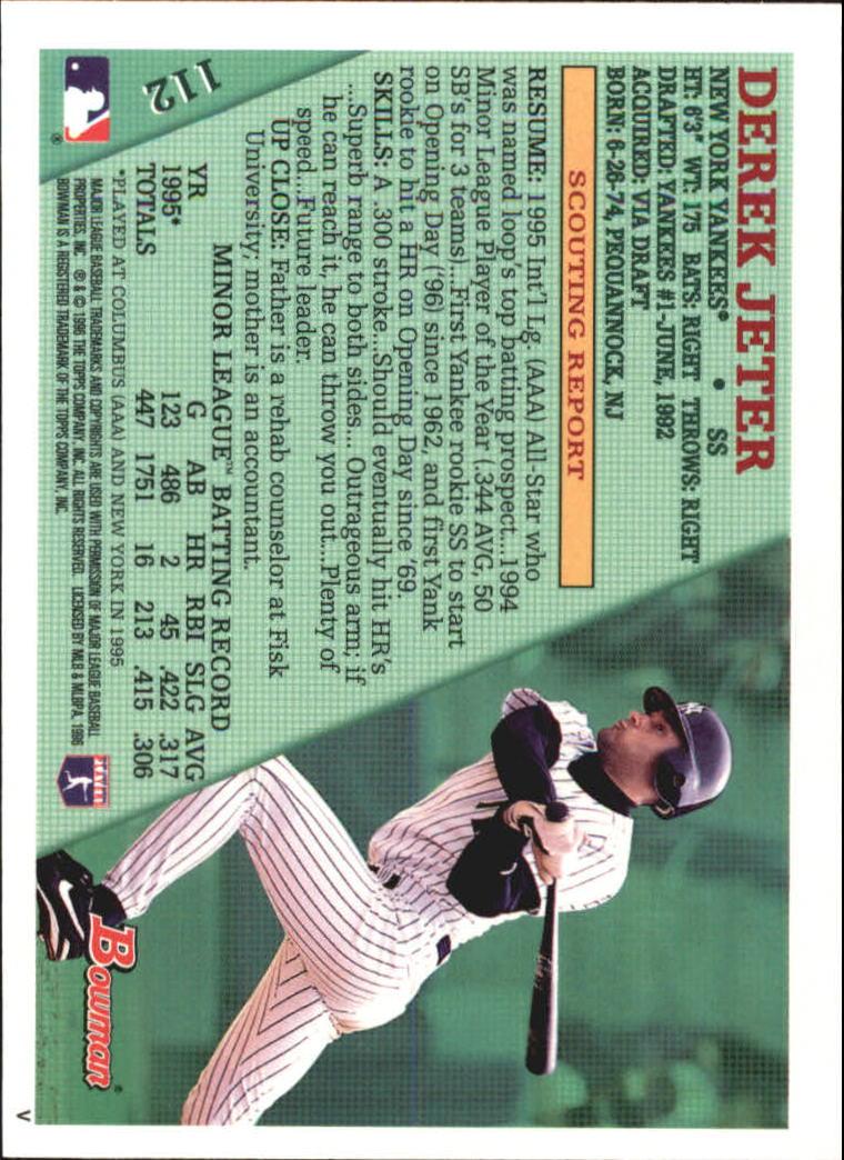 1996 Bowman Foil #112 Derek Jeter back image