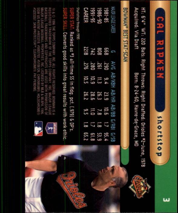 1996 Bowman's Best #3 Cal Ripken back image