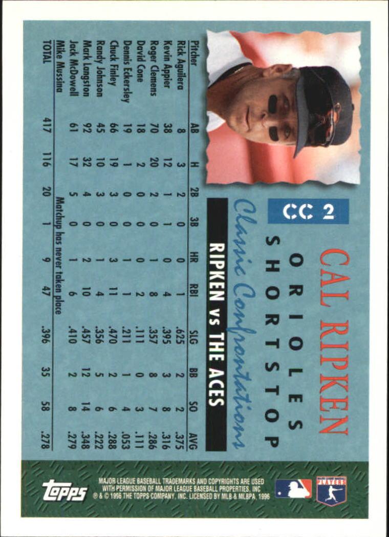1996 Topps Classic Confrontations #CC2 Cal Ripken back image