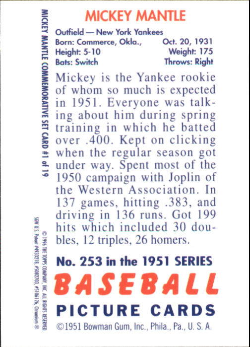 1996 Topps Mantle Finest #1 Mickey Mantle 1951 Bowman back image