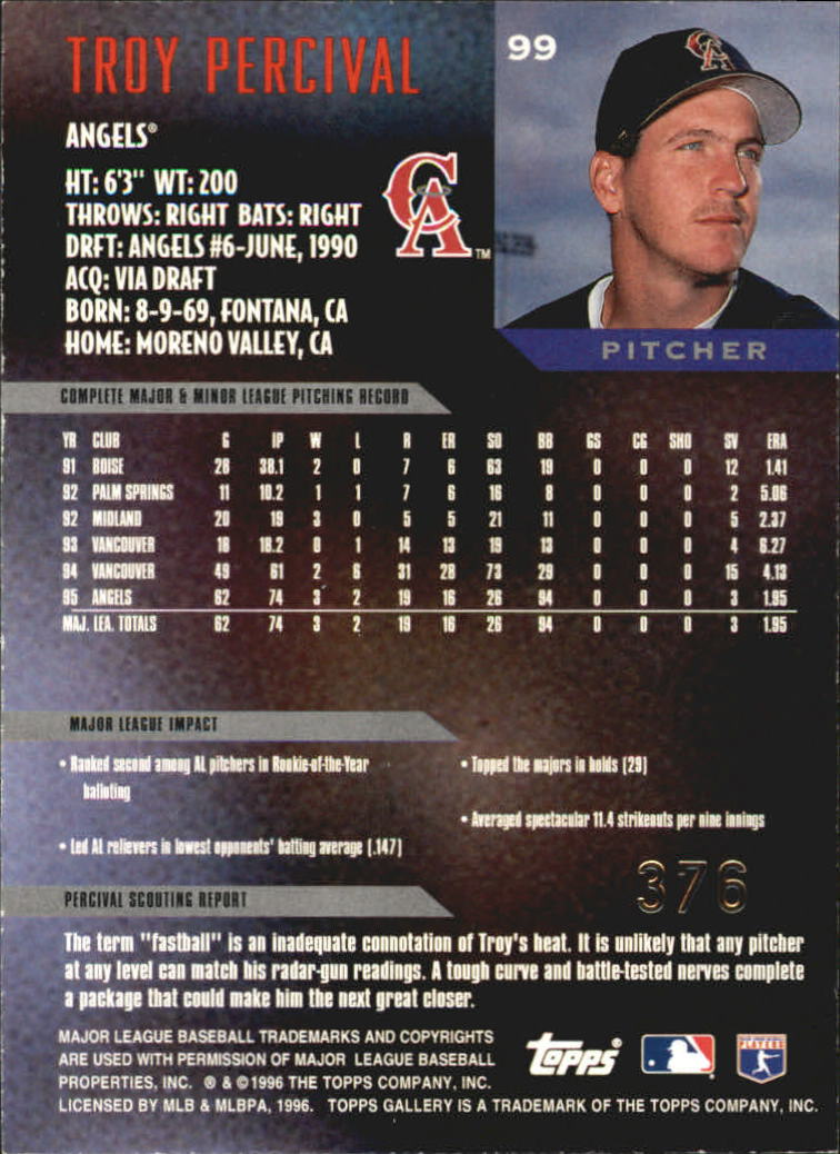 1996 Topps Gallery Players Private Issue #99 Troy Percival back image