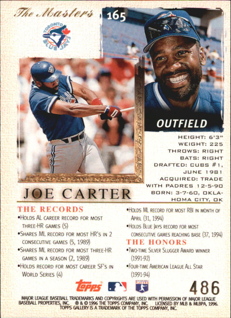 1996 Topps Gallery Players Private Issue #165 Joe Carter back image