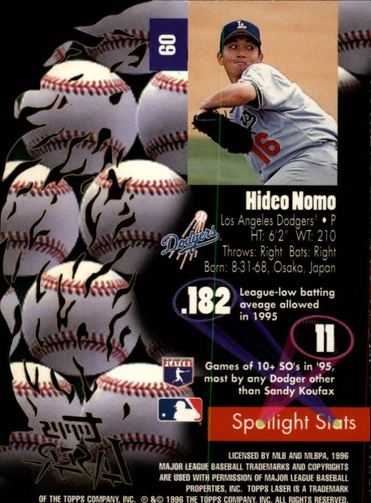 1996 Topps Laser #60 Hideo Nomo back image