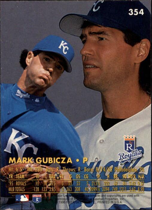 1996 Ultra #354 Mark Gubicza back image
