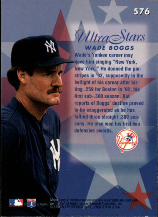 1996 Ultra #576 Wade Boggs STA back image
