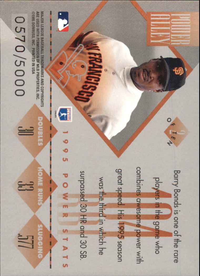 1996 Donruss Power Alley #2 Barry Bonds back image