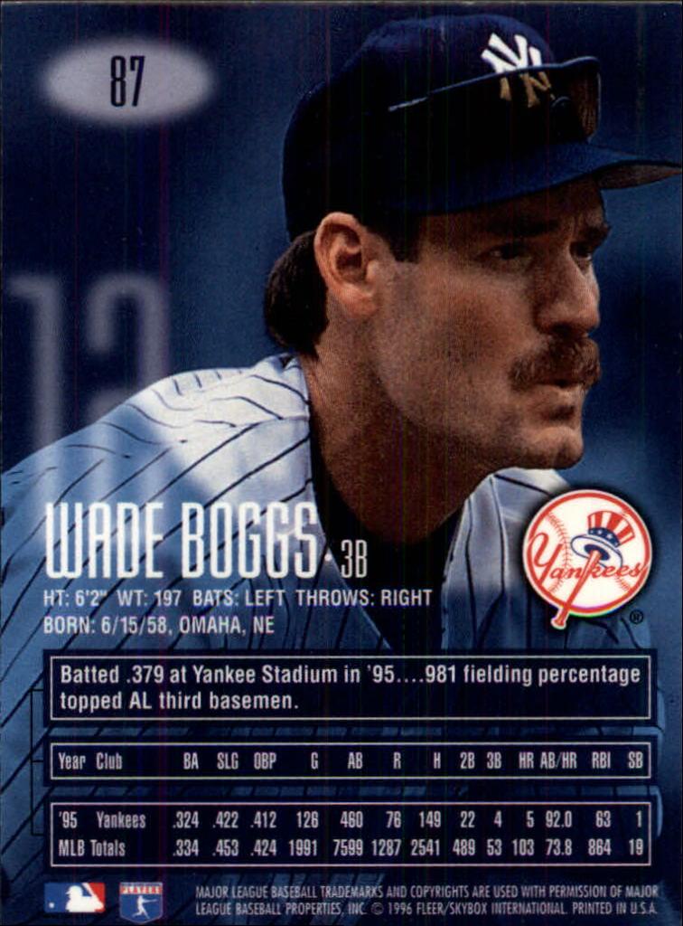 1996 Emotion-XL #87 Wade Boggs back image