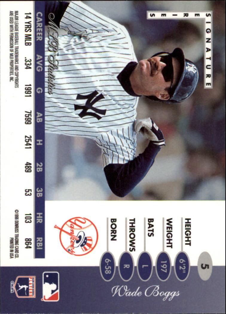 1996 Leaf Signature #5 Wade Boggs back image