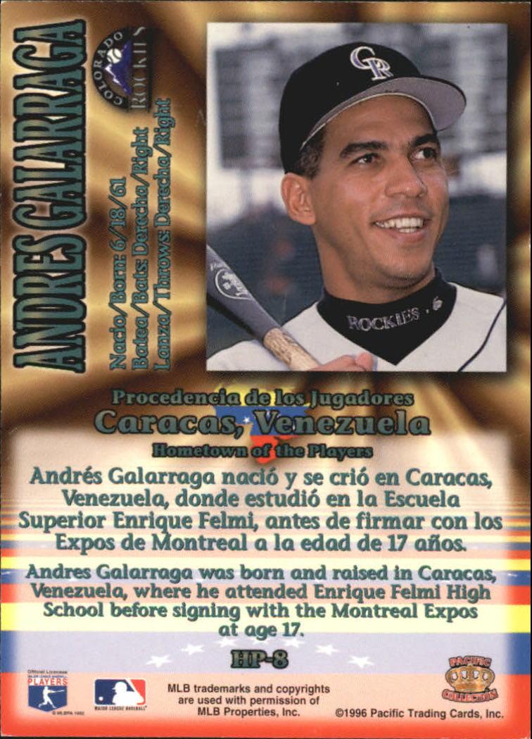 1996 Pacific Hometowns #HP8 Andres Galarraga back image