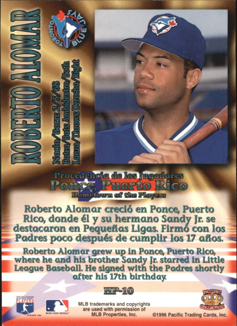 1996 Pacific Hometowns #HP10 Roberto Alomar back image