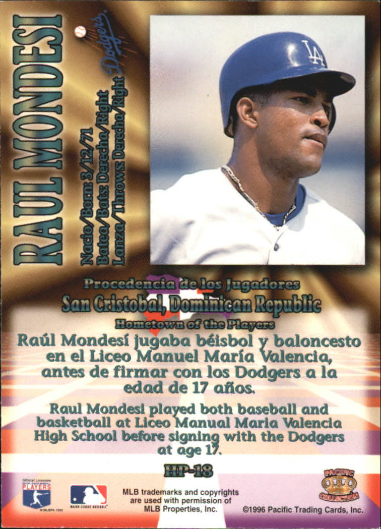 1996 Pacific Hometowns #HP18 Raul Mondesi back image