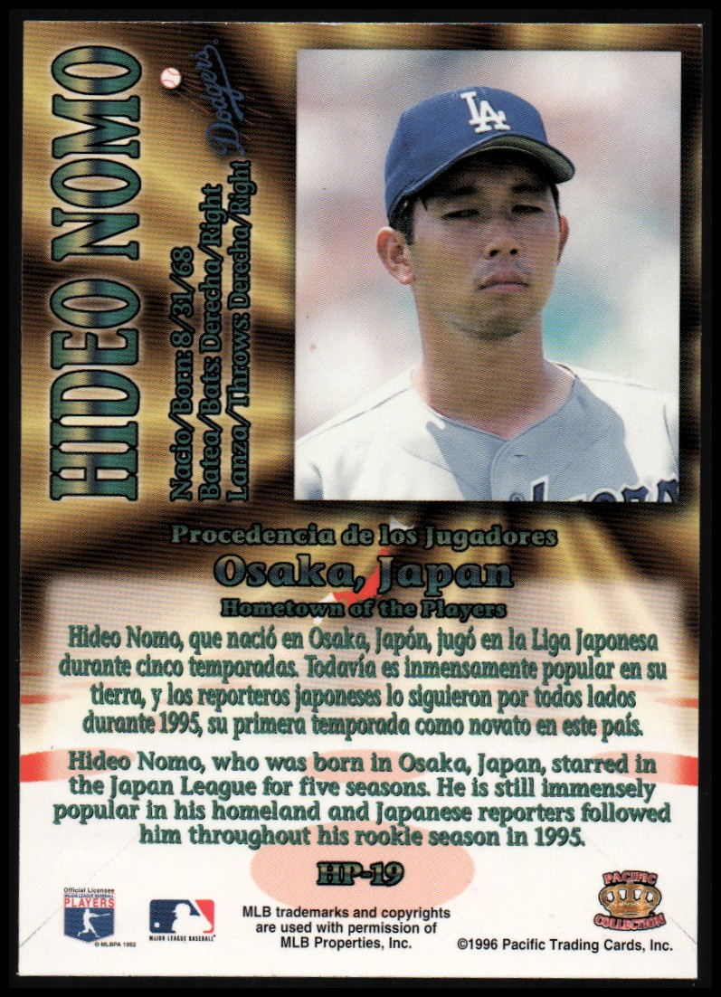 1996 Pacific Hometowns #HP19 Hideo Nomo back image