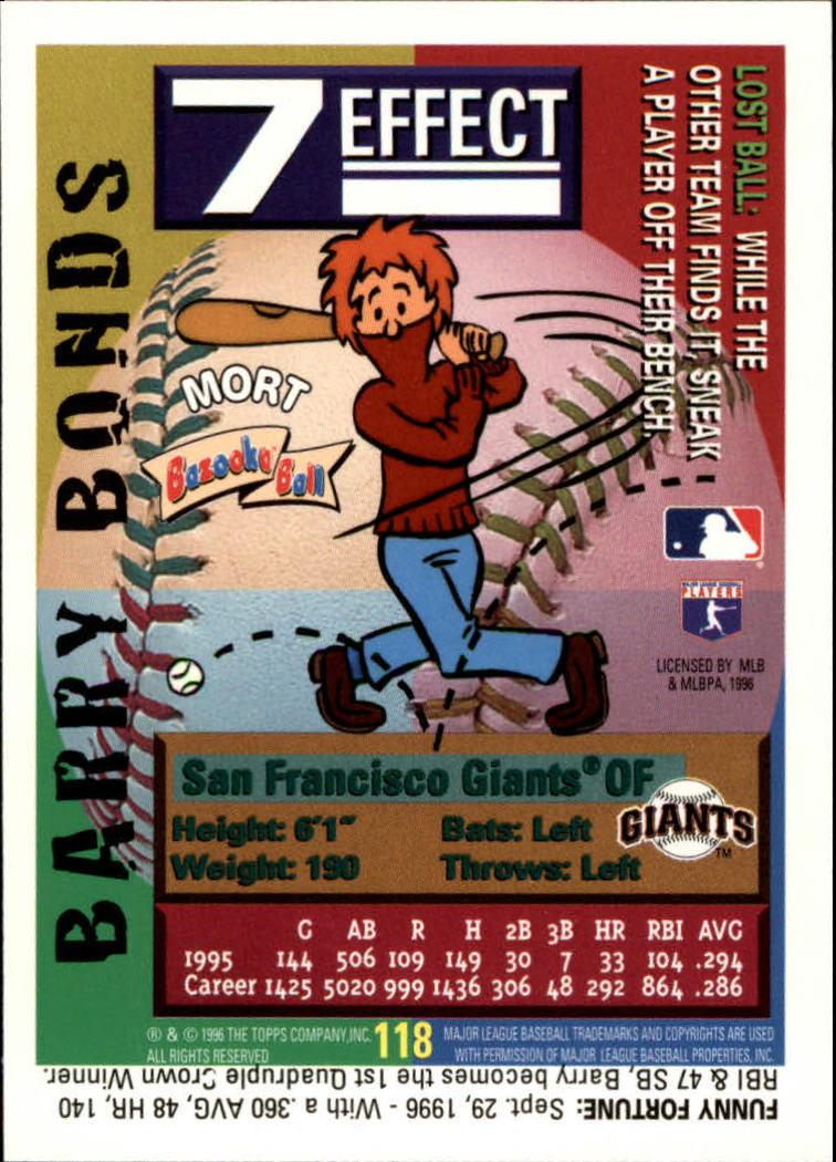 1996 Bazooka #118 Barry Bonds back image