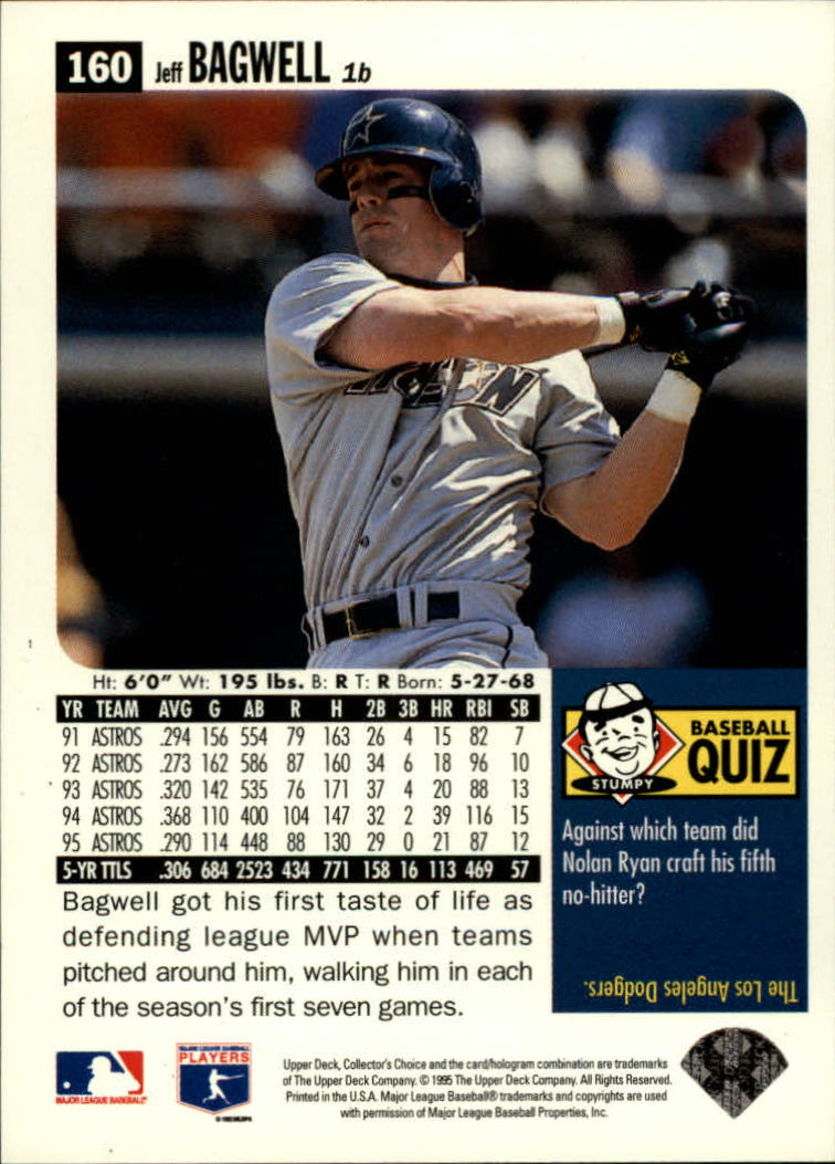 1996 Collector's Choice #160 Jeff Bagwell back image