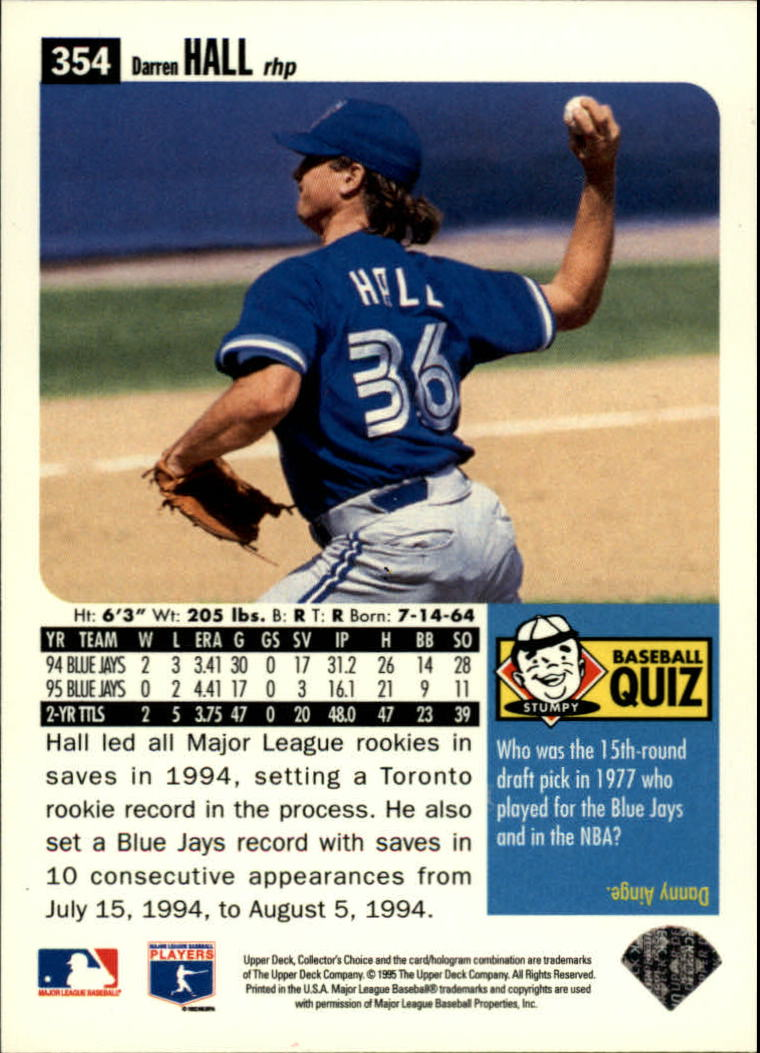 1996 Collector's Choice #354 Darren Hall back image
