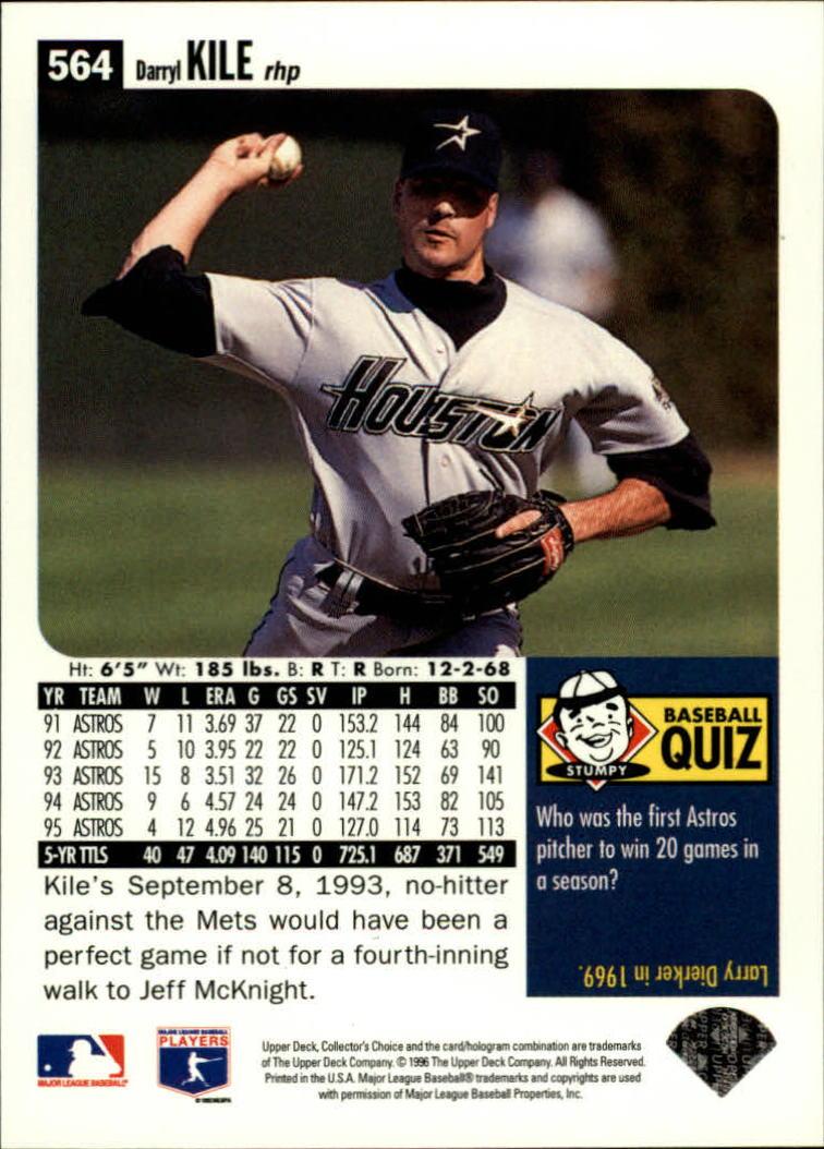 1996 Collector's Choice #564 Darryl Kile back image