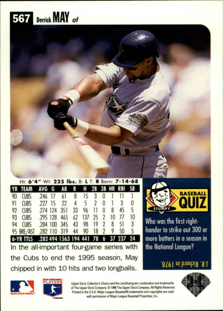 1996 Collector's Choice #567 Derrick May back image