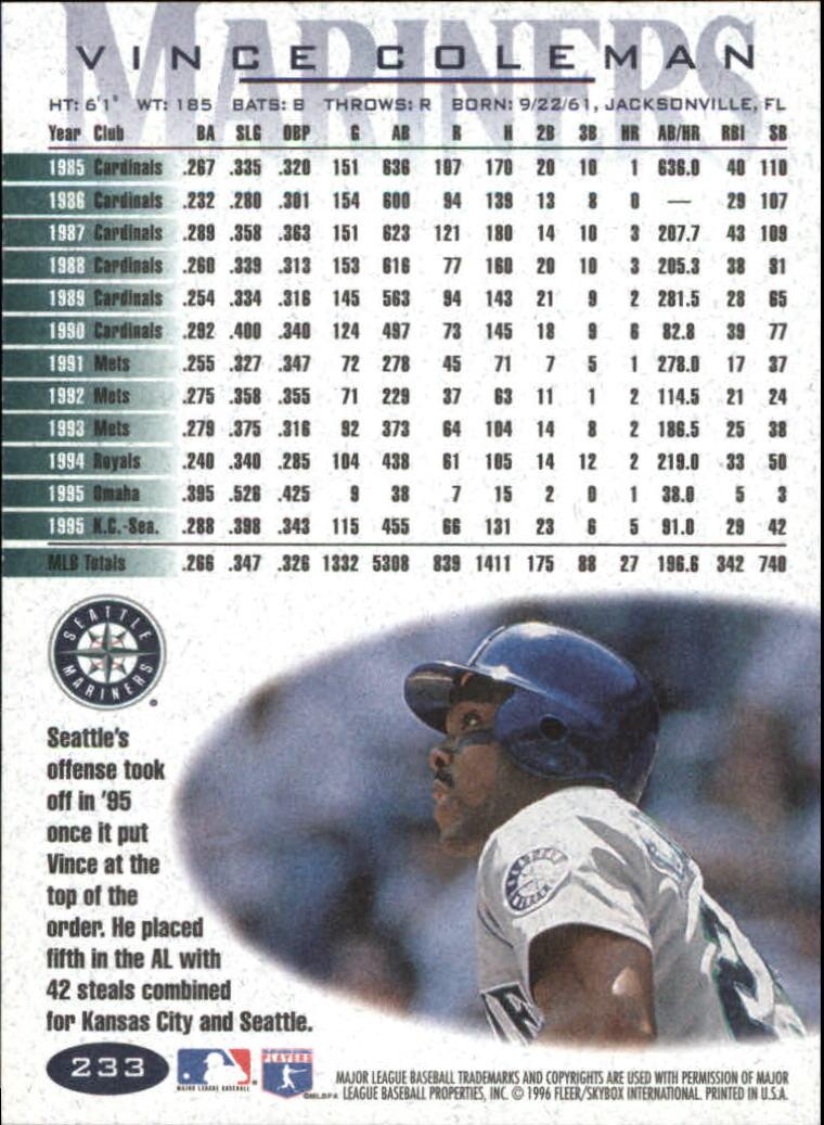 1996 Fleer #233 Vince Coleman back image