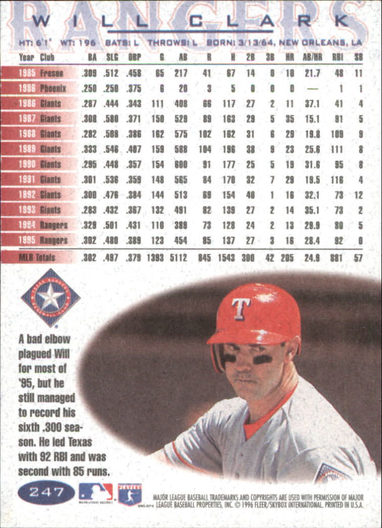1996 Fleer #247 Will Clark back image