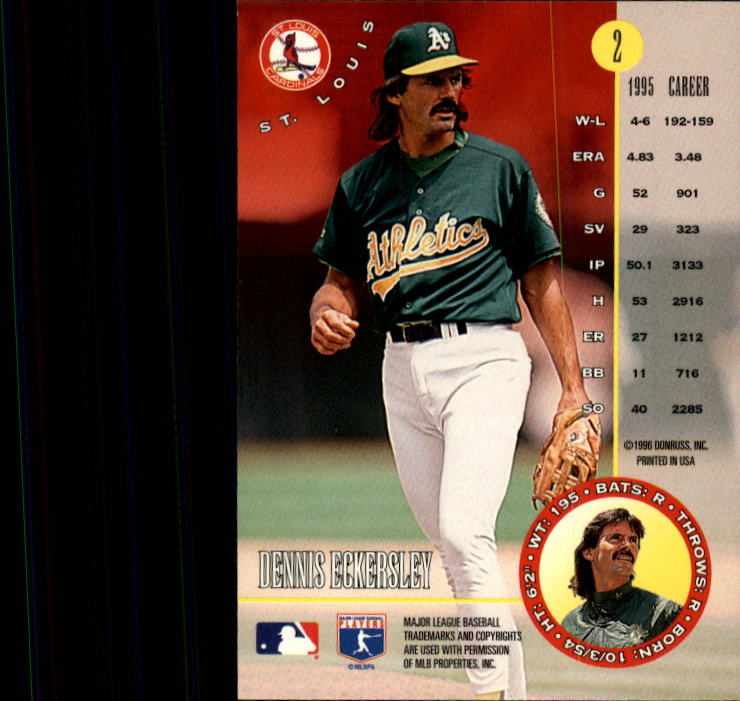 1996 Leaf #2 Dennis Eckersley back image