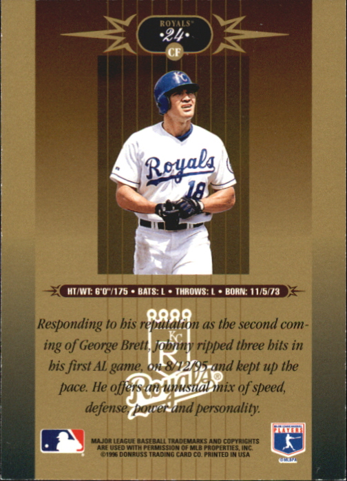 1996 Leaf Limited Gold #24 Johnny Damon back image