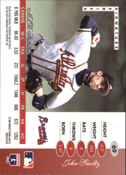 1996 Leaf Signature Gold Press Proofs #69 John Smoltz back image