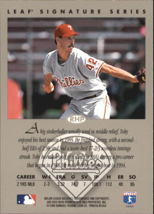 1996 Leaf Signature Autographs #30 Toby Borland back image